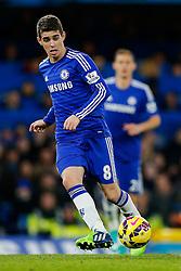 Oscar of Chelsea in action - Photo mandatory by-line: Rogan Thomson/JMP - 07966 386802 - 13/12/2014 - SPORT - FOOTBALL - London, England - Stamford Bridge - Chelsea v Hull City - Barclays Premier League.