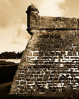 Split toning of the SW corner of the Castillo de San Marcos.