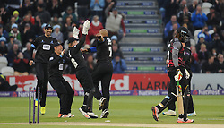 Sussex celebrate the wicket of Chris Gayle.  - Mandatory by-line: Alex Davidson/JMP - 01/06/2016 - CRICKET - The 1st Central County Ground - Hove, United Kingdom - Sussex v Somerset - NatWest T20 Blast