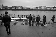 London. United Kingdom, Spectators watching, crews boating for the 2018 Women's Head of the River Race.  location Barnes Bridge, Championship Course, Putney to Mortlake. River Thames, <br />