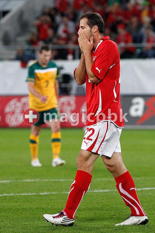 Switzerland's Xavier MARGAIRAZ reacts during a friendly soccer match between Switzerland and Australia, in St. Gallen, Switzerland, Friday, September 03, 2010. (Photo by Patrick B. Kraemer / MAGICPBK)