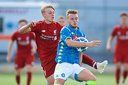 NAPLES, ITALY - Wednesday, October 3, 2018: Liverpool's Paul Glatzel (L) and Napoli's captain Giuseppe Esposito during the UEFA Youth League Group C match between S.S.C. Napoli and Liverpool FC at Stadio Comunale di Frattamaggiore. (Pic by David Rawcliffe/Propaganda)