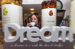 Scottish Labour leader, Kezia Dugdale campaigns in the Serenity Cafe near the Scottish Parliament at Holyrood.