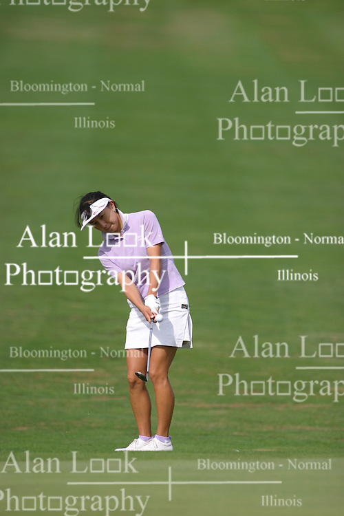 30 Aug 2005<br /> <br /> Riko Higashio with an approach shot to #1.<br /> <br /> State Farm Classic, LPGA Golf Tournament, Tuesday Practice, The Rail Golf Course, Springfield, IL