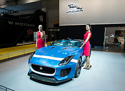 Jaguar Project 7 concept car at the Dubai Motor Show 2013 United Arab Emirates