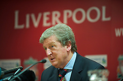 LIVERPOOL, ENGLAND - Wednesday, August 18, 2010: Liverpool's manager Roy Hodgson during a press conference at Anfield ahead of the UEFA Europa League Play-Off 1st Leg match against Trabzonspor A.S. (Pic by: David Rawcliffe/Propaganda)