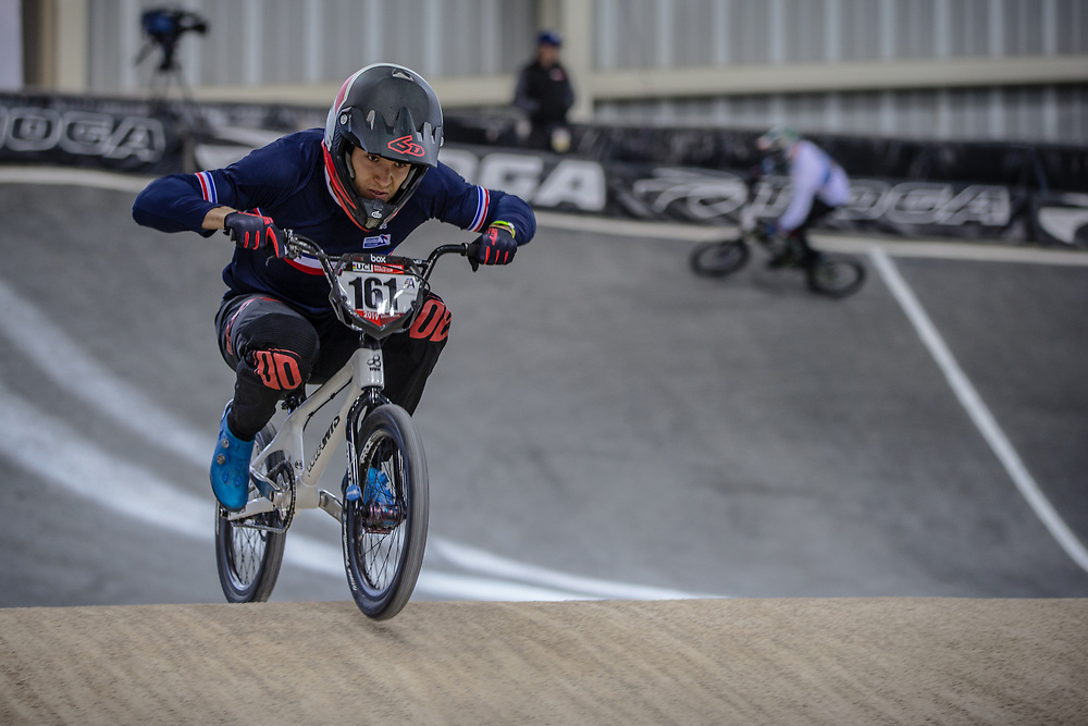 #161 (RAGOT RICHARD Mathis) FRA at Round 2 of the 2019 UCI BMX Supercross World Cup in Manchester, Great Britain
