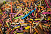 A box of crayons sits on a desk in the transitional kindergarten class at Rose Elementary School in Milpitas, California, on April 5, 2013. (Stan Olszewski/SOSKIphoto)