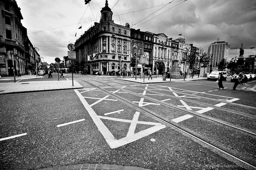 Dublin, Ireland: A junction box on the road at a busy interchange (crossroads) on the main street of Dublin City, O'Connell Street.
