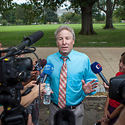 Andy Parker, speaks to reporters during his first visit to Washington, D.C. since his daughter, WDBJ_TV reporter was shot and killed on live television near Roanoke, VA last week.  The rally, organized by Everytown for Gun Safety, brought Parker together with Virginia Senators, Mark Warner, Tim Kaine and Virginia Governor, Terry McAuliffe near the United States Capitol, on Thursday, September 10, 2015.  John Boal/for The New York Daily News