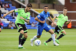 Joe Gormley of Peterborough United closes down Kieron Freeman of Sheffield United - Mandatory byline: Joe Dent/JMP - 07966386802 - 18/08/2015 - FOOTBALL - ABAX Stadium -Peterborough,England - Peterborough United v Sheffield United - Sky Bet League One