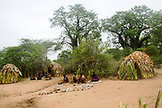 Straw Thatched huts in a Hadza Tribe village, Lake Eyasi, Tanzania