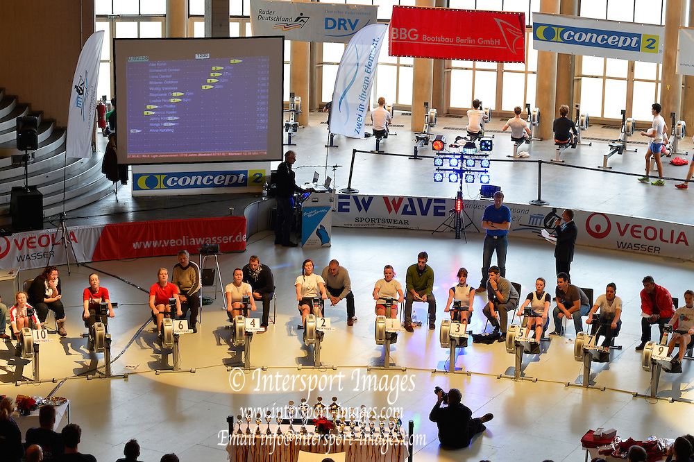 Berlin, GERMANY.  Saturday  15/12/2012.  General view of the  [2. Lauf der Deutschen Indoor Rowing Serie 2012/2013.  2nd leg of the German Indoor Rowing Series 2012/2013 at the  Cupola Hall, [Haus des Deutschen Sport,]  Berlin Sport House. at the Kuppelsaal Halle, Olympiagelände, Berlin Olympic Park, a venue used in the  11                        th Olympiad 1936, [Mandatory Credit: Peter Spurrier/Intersport Images]
