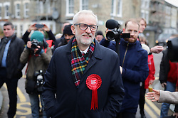 © Licensed to London News Pictures. 12/12/2019. London, UK. Labour Party Leader Jeremy Corbyn heads to cast his vote in the 2019 General Election. Photo credit: Rob Pinney/LNP