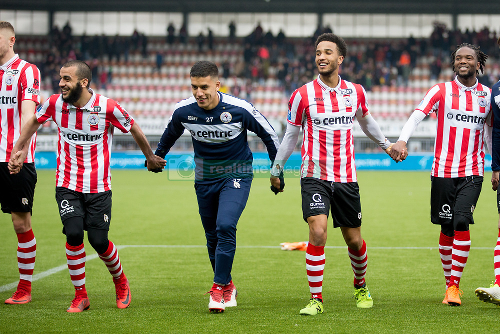 Soufyan Ahannach of Sparta Rotterdam, Abdou Harroui of Sparta Rotterdam, Ryan Sanusi of Sparta Rotterdam, Miquel Nelom of Sparta Rotterdam during the Dutch Eredivisie match between Sparta Rotterdam and ADO Den Haag at the Sparta stadium Het Kasteel on March 04, 2018 in Rotterdam, The Netherlands