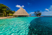 Infinity pool, Manava Suite Beach Resort, Punaauia, Tahiti, French Polynesia.