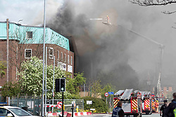 © Licensed to London News Pictures. 26/04/2017. MANCHESTER , UK.  <br /> <br /> Cancer Research UK building at The Christie Hospital on fire today (Wed 26th April 2017). A fire has broken out at  in Withington , Manchester,  at Christie's.<br />   <br /> Photo credit: CHRIS BULL/LNP