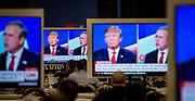 Las Vegas, Nevada, USA, 20151215: Presidentkandidatene Donald Trump og Jeb Bush braket sammen under debatten i Las Vegas. De republikanske presidentkandidatene møtes til debatt på Venetian Casino og Hotel i Las Vegas. CNN er vert. Foto: Ørjan F. Ellingvåg