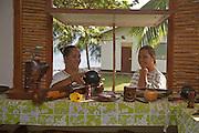 Crafts store, Hokatu, Ua Huka, Marquesas Islands, French Polynesia, (Editorial use only)<br />