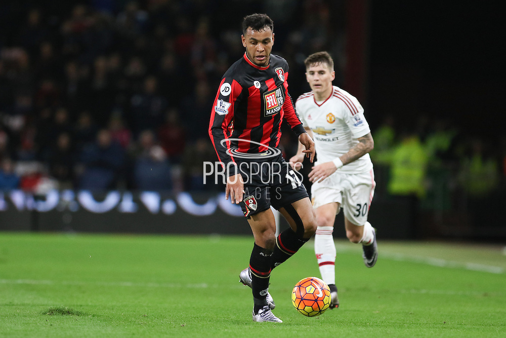 Joshua King of Bournemouth during the Barclays Premier League match between Bournemouth and Manchester United at the Goldsands Stadium, Bournemouth, England on 12 December 2015. Photo by Phil Duncan.