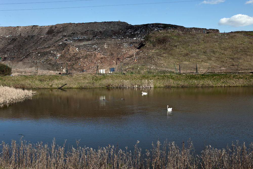 A pond at the Packington landfill site owned by SITA. The land is evenually landscaped to look like part of the natural countryside when an area of the site is no longer to be used. The government said recently that Britain only has enough landfill space left for another eight years. We currently send 18.8 million tonnes of rubbish to landfill every year – 2 million more tonnes than any other country in Europe. By 2013, only 50 per cent of Britain's waste will be allowed to go to landfill. This landfill site is one of the largest sites in Europe stretching over 400 acres. Packington, Warwickshire, UK. 2011