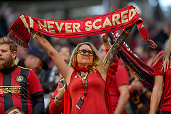 October 21, 2018 - Atlanta, GA, U.S. - ATLANTA, GA - OCTOBER 21: An Atlanta United supporter during the MLS game between the Atlanta United and the Chicago Fire on October 21, 2018 at the Mercedes-Benz Stadium in Atlanta, GA. Atlanta United FC secured a place in next year's CONCACAF Champions League with a 2-1 victory against the visiting Chicago Fire. (Photo by John Adams/Icon Sportswire) (Credit Image: © John Adams/Icon SMI via ZUMA Press)