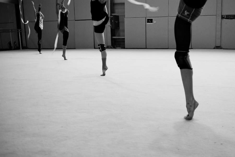 Series of photographs from the training of Rhythmic Gymnastics Greek national team, April 2010.