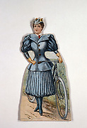 Display card showing ladies' cycling costume with accordion-pleated divided skirt and side-buttoning gaiters: Made by Gosta Kraemer, New York, for Pope Manufacturing Co, the makers of Columbia Bicycles.  Bicycle in picture has pneumatic tyres. Chromolithograph c1900.