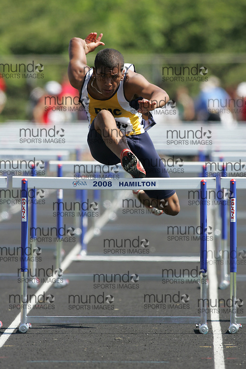 Hamilton, Ontario ---06/06/08--- \o\ competes in the sprint hurdles at the 2008 OFSAA Track and Field meet in Hamilton, Ontario..SEAN BURGES