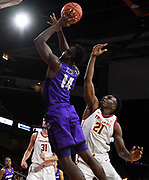 Nov 8, 2019; Los Angeles, CA, USA; Portland Pilots forward Tahirou Diabate (14) is defended by Southern California Trojans forward Nick Rakocevic (31) in the first half  at Galen Center USC defeated Portland State 76-65.