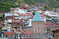 vew of Tbilisi old city center, Georgia,around the St. George Armenian Cathedral with traditional houses