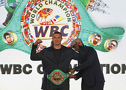 October 1, 2018 - Kiev, Ukraine - (L-R) Ex boxing champion of the World Evander Holyfield,Ukrainian heavyweight boxing champion Vladimir Klitschko and ex boxing champion Lennox Lewis during awarding of Ukrainian heavyweight boxing champion Vladimir Klitschko by the belt of the honorary WBC world champion, at an official opening of the 56th WBC ( World Boxing Council ) Convention in Kiev, Ukraine, 01 October, 2018. The 56th WBC Convention takes place in Kiev from September 30 to October 05. The event participate of boxing legends Lennox Lewis, Evander Holyfield, Eric Morales, Alexander Usik, Vitali Klitschko and about 700 congress participants from 160 countries. (Credit Image: © Str/NurPhoto/ZUMA Press)