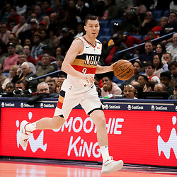 Mar 31, 2019; New Orleans, LA, USA; New Orleans Pelicans guard Dairis Bertans (9) during the second half against the Los Angeles Lakers at the Smoothie King Center. Mandatory Credit: Derick E. Hingle-USA TODAY Sports