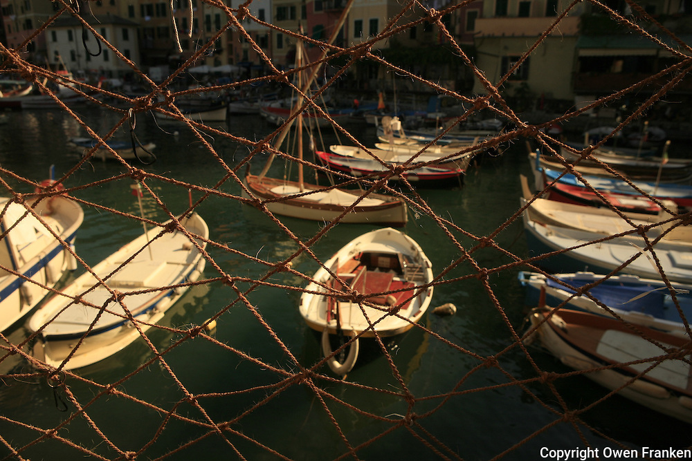 in the fishing port of Camogli, Liguria, on the Italian Riviera.