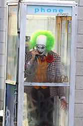 "Joaquin Phoenix cries on the scene dressed up as a clown while getting fired over the phone from ""Ha Ha Comedy Club"" in which later on in the film he turns into the evil clown known as the ""JOKER"". The film was being shot under the Manhattan Bridge in DUMBO Brooklyn. 24 Sep 2018 Pictured: Joaquin Phoenix. Photo credit: LRNYC / MEGA TheMegaAgency.com +1 888 505 6342"