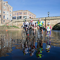 Olympic cyclists Joanna Rowshell Shand, Katie Archibald, Adam Craske and daughter Lily Craske aged 7, take part in the Ride on the water shoot on the River Ouse in York