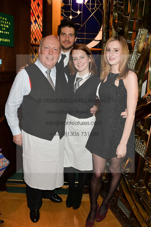Left to right, JULIAN FELLOWES, ROBERT JAMES-COLLIER, SOPHIE McSHERA and LAURA CARMICHAEL at One Night Only at The Ivy in aid of Acting For Others supported by Tanqueray No.TEN Gin at The Ivy, 1-5 West Street, London on 1st December 2013.