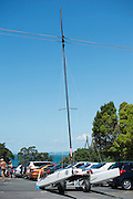 British sailor Nigel Lovett is lucky to be alive after walking his A class mast into power lines after the last race of the A Class Catamaran World Championships held in Takapuna. 16/2/2014