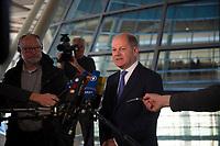 DEU, Deutschland, Germany, Berlin, 09.04.2019: Bundesfinanzminister Olaf Scholz (SPD) bei einem Pressestatement im Deutschen Bundestag.