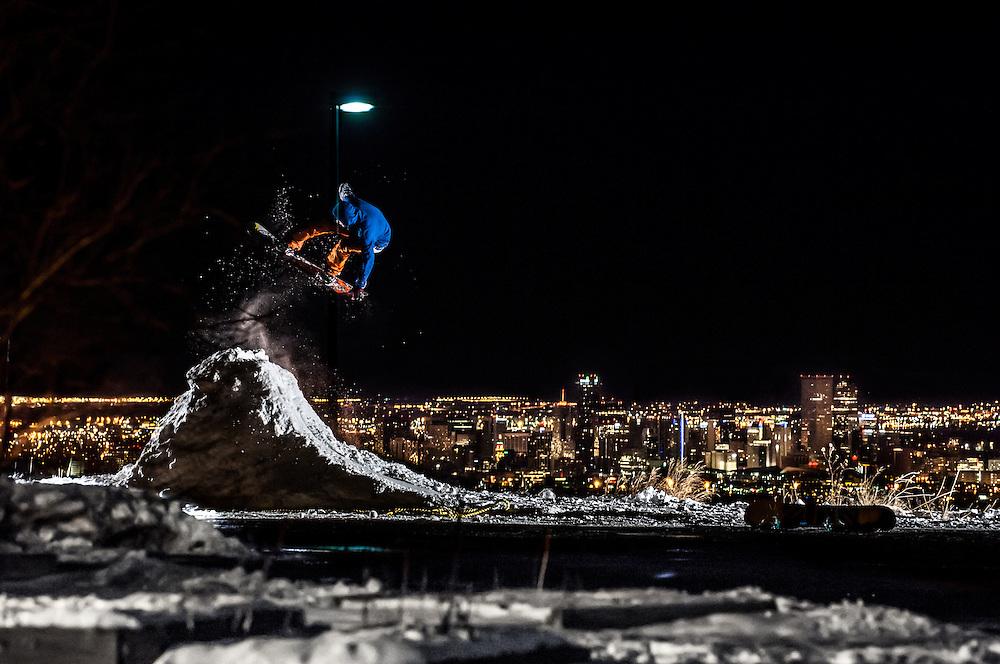 Braden Wahr shot for Snowboard Colorado in Denver, Colorado.