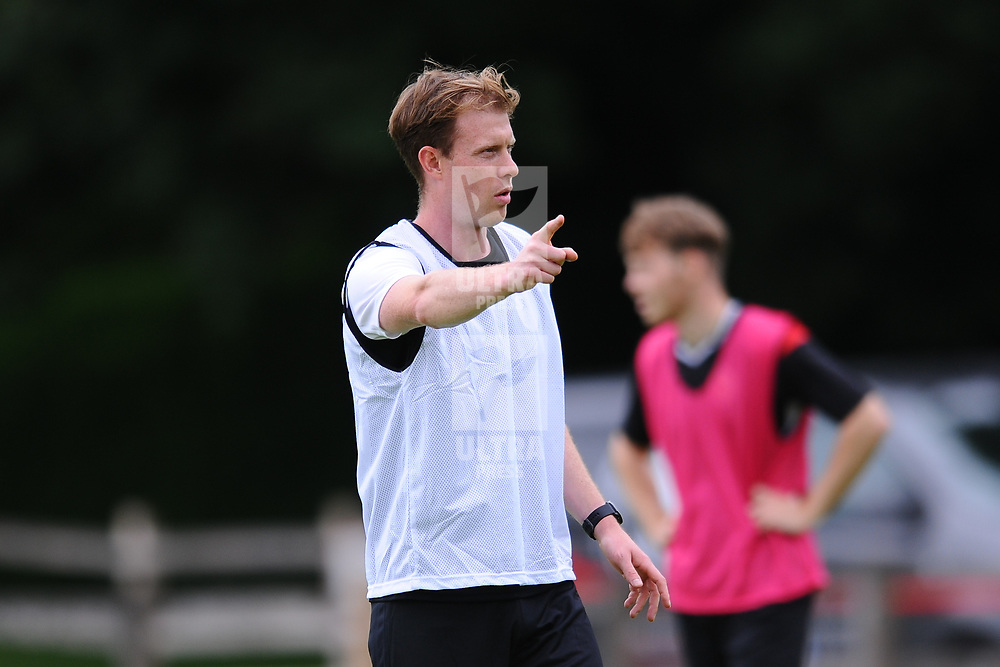 TELFORD COPYRIGHT MIKE SHERIDAN Jack Byrne points the way as AFC Telford United return to training at Lilleshall National Sports Centre on Saturday, July 4, 2020.<br /> <br /> <br /> Picture credit: Mike Sheridan/Ultrapress<br /> <br /> MS202021