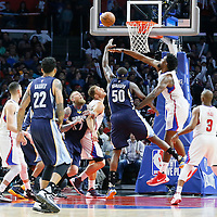 12 April 2016: Memphis Grizzlies forward Zach Randolph (50) goes for the layup against Los Angeles Clippers center DeAndre Jordan (6) during the Los Angeles Clippers 110-84 victory over the Memphis Grizzlies, at the Staples Center, Los Angeles, California, USA.