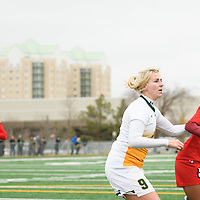 4th year midfielder Nikita Senko (9) of the Regina Cougars in action during the Women's Soccer Home Game on October 21 at U of R Field. Credit Matt Johnson/Arthur Images