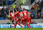 Middlesbrough FC striker Kike celebrates after opening the scoring during the Sky Bet Championship match between Brighton and Hove Albion and Middlesbrough at the American Express Community Stadium, Brighton and Hove, England on 19 December 2015. Photo by Bennett Dean.