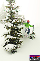Russell Laman (age 11) skiing fresh powder snow at Blackcomb Mountain, BC