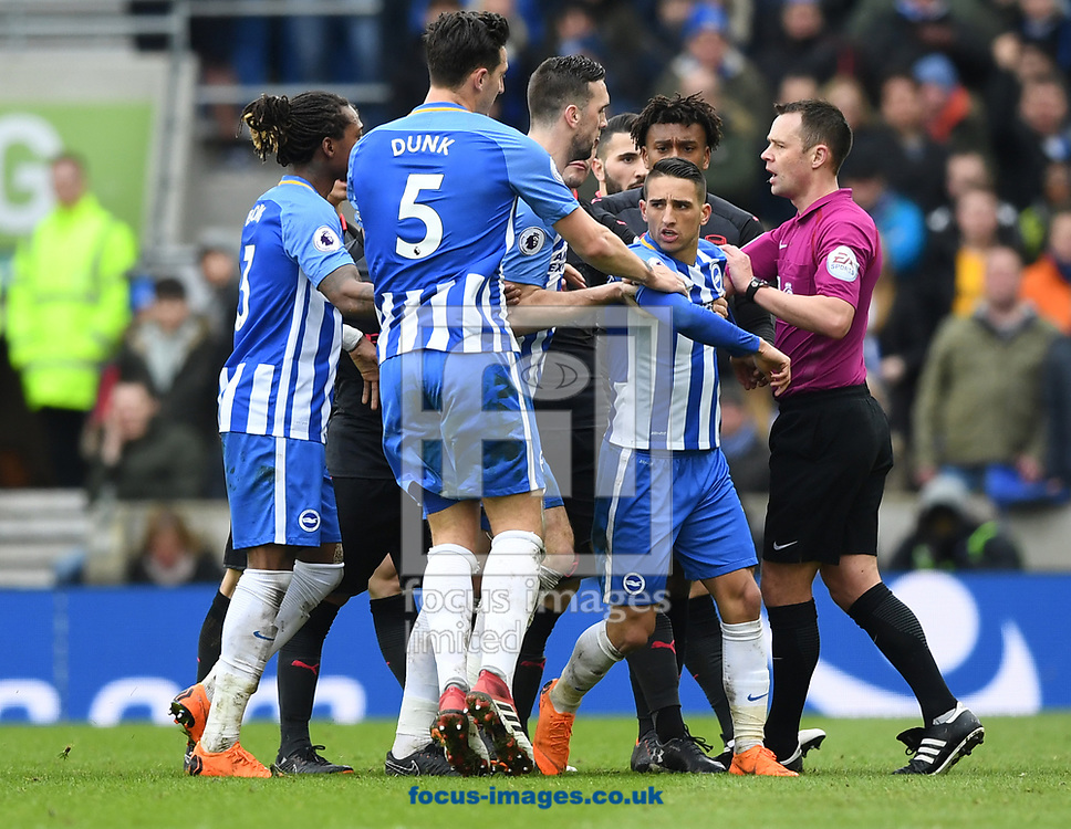 Anthony Knockaert of Brighton and Hove Albion is pulled away by team mates during the Premier League match at the American Express Community Stadium, Brighton and Hove<br /> Picture by Simon Dael/Focus Images Ltd 07866 555979<br /> 04/03/2018