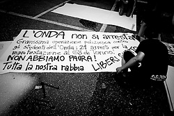 Rome jul 07, 2009 Italy - Protests against G8 Summit of L'Aquila. The students of La Sapienza University protest against the G8. Protests and demonstrations are expected across Italy as world leaders attending the G8 summit are expected to discuss tackling world hunger and the global reduction of greenhouse gases.