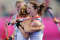 Olympic Games London 2012 - Olympische Spiele London 2012, 31.07.2012.Hockey women, Great Britain vs. Korea, Chloe Rogers and Helen Richardson / GBR celebrates.©Êpixathlon *** Local Caption ***