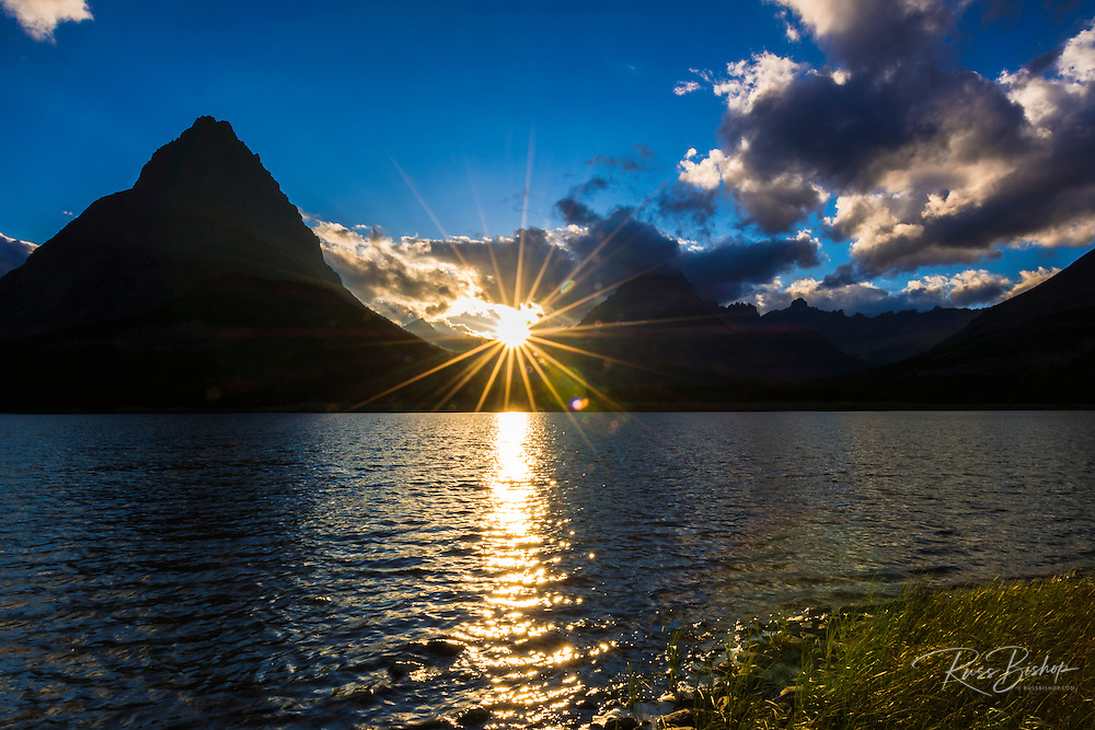 Grinnell Point and Swiftcurrent Lake at sunset, Many Glacier, Glacier National Park, Montana USA