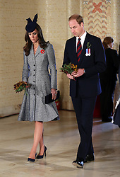 The Duke and Duchess of Cambridge at the Tomb of the Unknown Australian Soldier during the ANZAC Day March and Commemorative Service at the Australian War Memorial in Canberra, Australia, Friday, 25th April 2014. Picture by Stephen Lock / i-Images